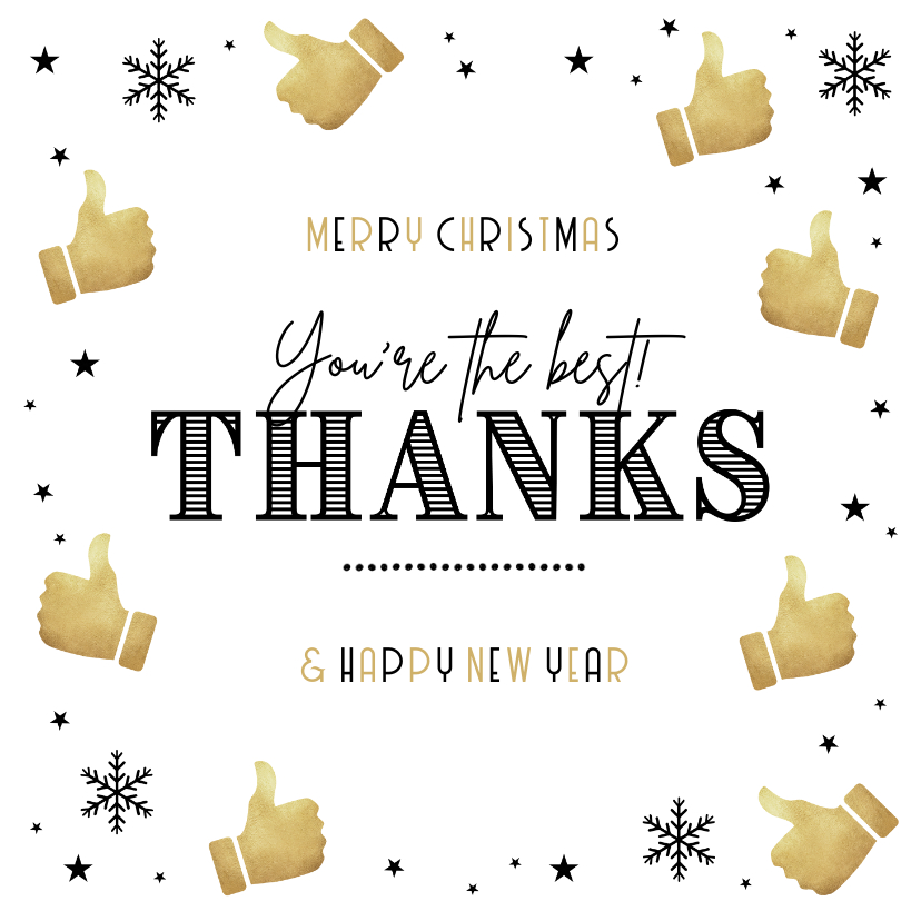Zakelijke kerstkaarten - Zakelijke kerstkaart bedankt thanks goud duimpjes sterren