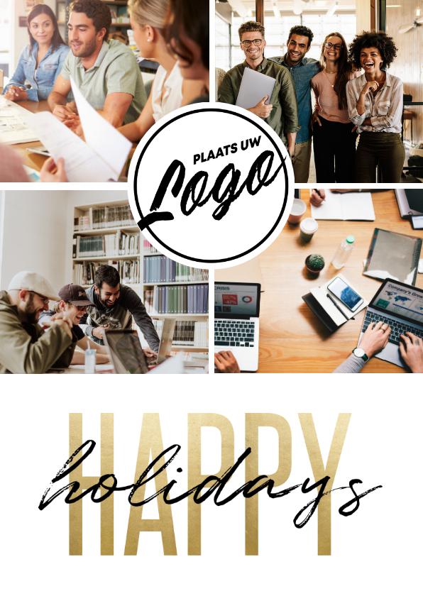 Zakelijke kerstkaarten - Zakelijke kerstkaart bedrijfslogo happy holidays fotocollage
