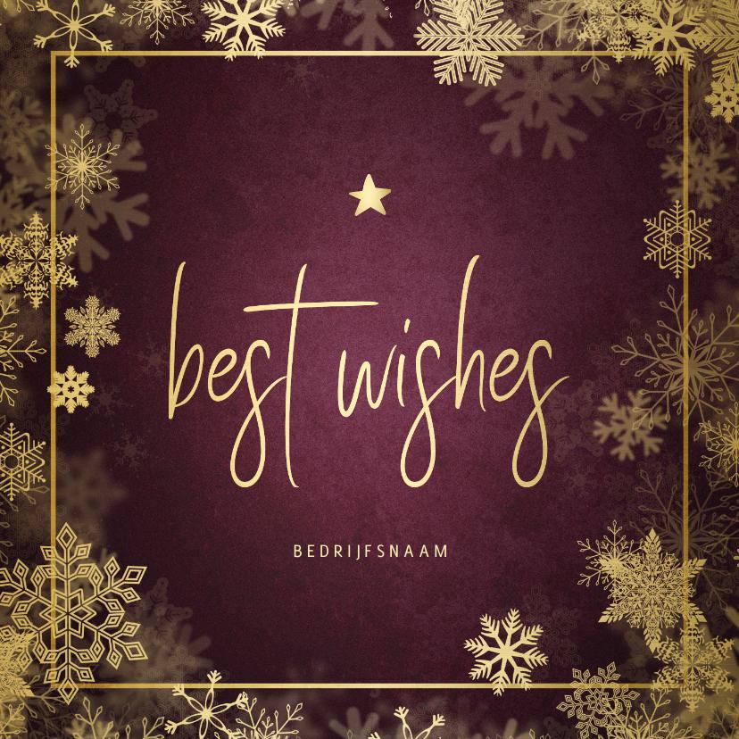 Zakelijke kerstkaarten - Zakelijke kerstkaart best wishes bordeaux met goudlook kader
