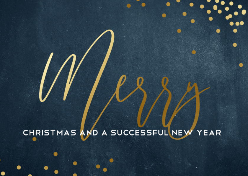 Zakelijke kerstkaarten - Zakelijke kerstkaart blauw met goud Merry Christmas
