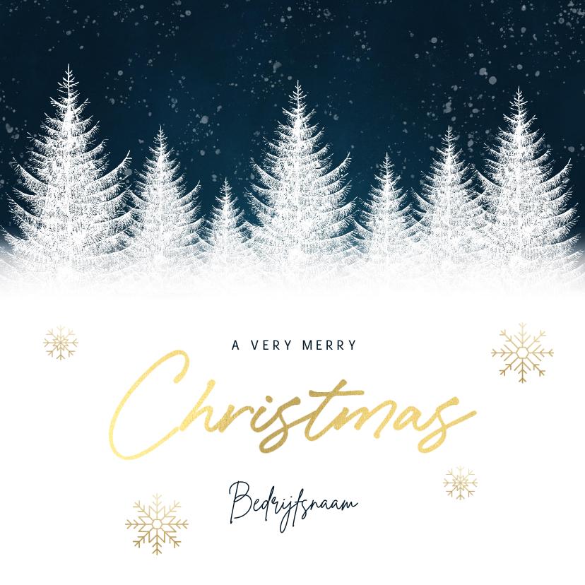 Zakelijke kerstkaarten - Zakelijke kerstkaart blauwe waterverf, boompjes & typografie