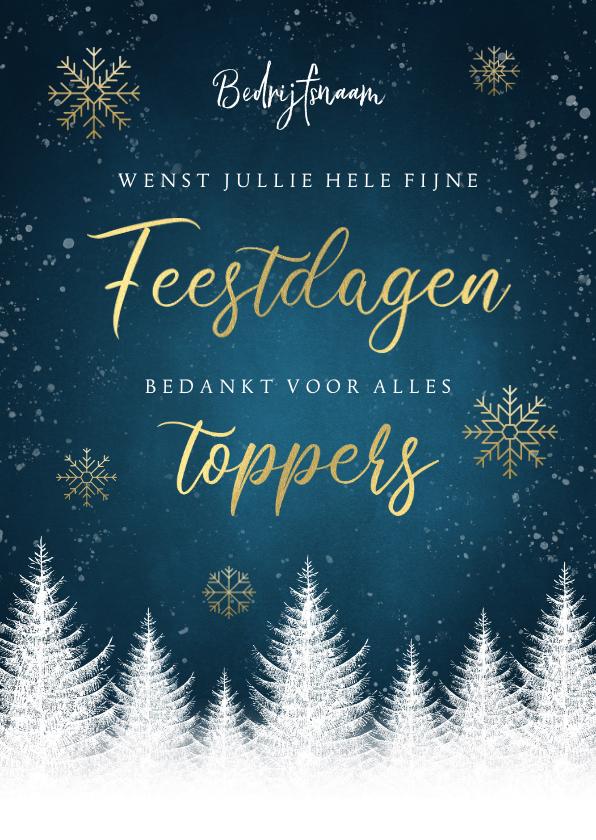 Zakelijke kerstkaarten - Zakelijke kerstkaart bomen, gouden typografie, sneeuwvlokken
