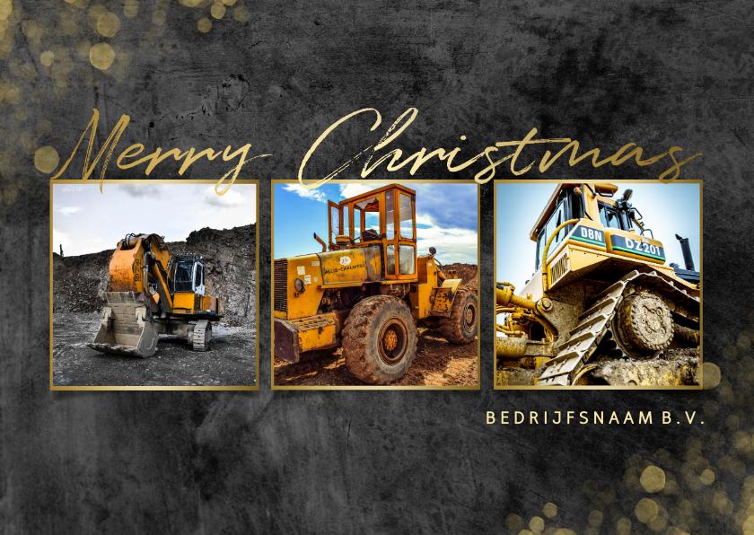 Zakelijke kerstkaarten - Zakelijke kerstkaart bouw fotocollage goud