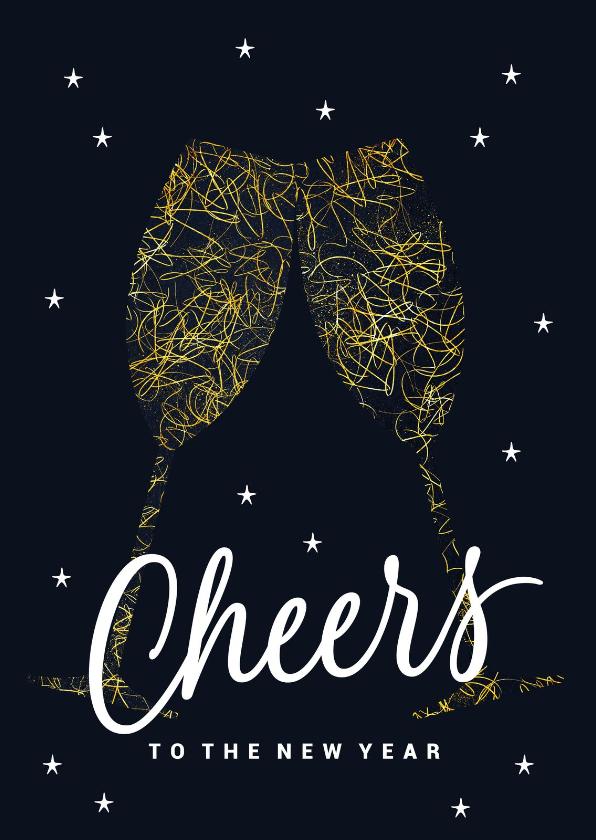 Zakelijke kerstkaarten - Zakelijke kerstkaart champagne glazen Cheers