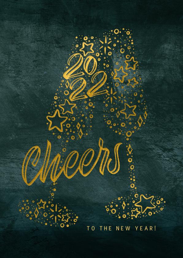 Zakelijke kerstkaarten - Zakelijke kerstkaart Cheers 2022 met glazen