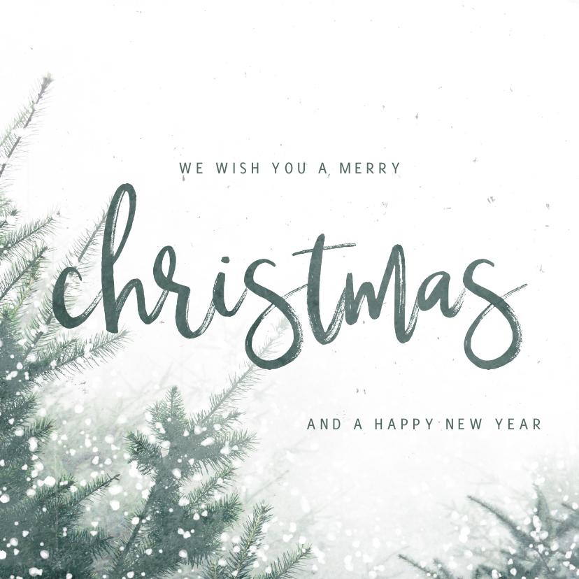 Zakelijke kerstkaarten - Zakelijke kerstkaart christmas met kerstbomen en sneeuw