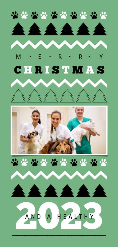 Zakelijke kerstkaarten - Zakelijke kerstkaart dieren verzorging arts foto pootafruk