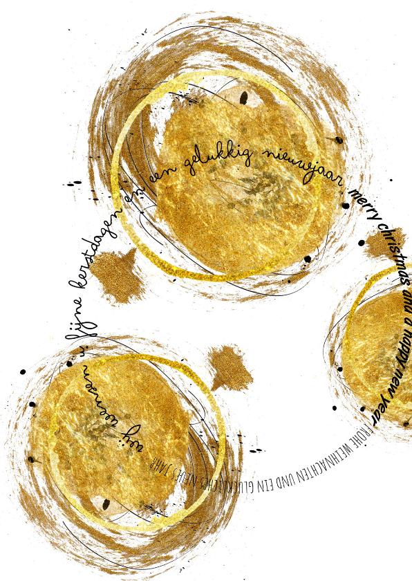 Zakelijke kerstkaarten - Zakelijke Kerstkaart Drie Gouden Kerstballen