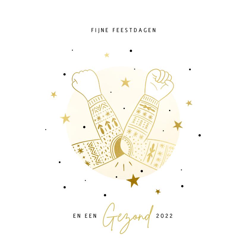 Zakelijke kerstkaarten - Zakelijke kerstkaart ellebooggroet goud kersttrui sterren
