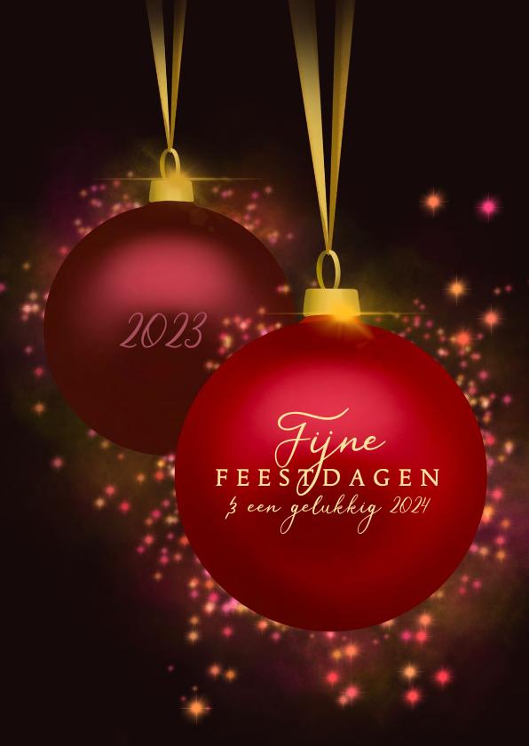Zakelijke kerstkaarten - Zakelijke kerstkaart feestelijke kerstballen & jaartallen
