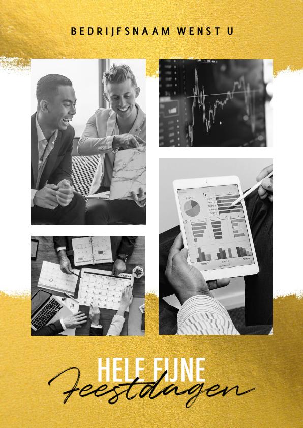 Zakelijke kerstkaarten - Zakelijke kerstkaart financiële branche goud kader & foto's