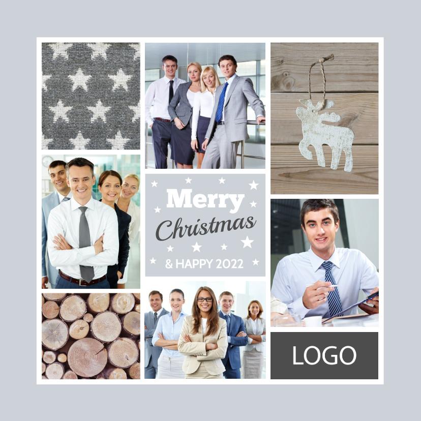 Zakelijke kerstkaarten - Zakelijke kerstkaart fotocollage grijs