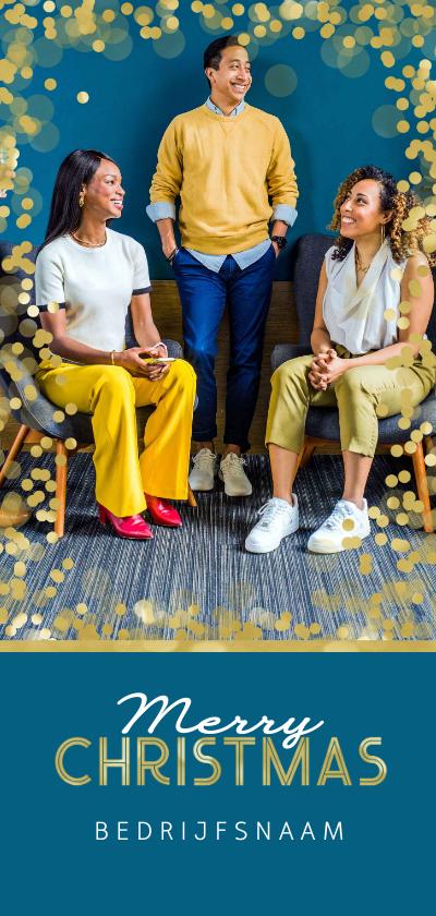 Zakelijke kerstkaarten - Zakelijke kerstkaart goud confetti foto internationaal