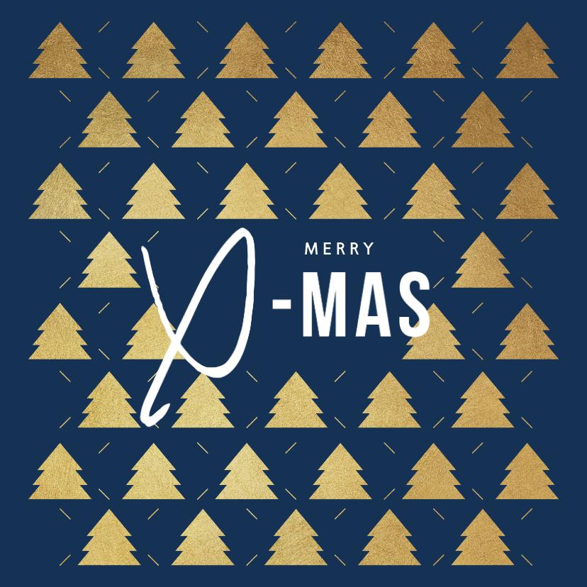Zakelijke kerstkaarten - Zakelijke kerstkaart goud kerstbomen x-mas foto