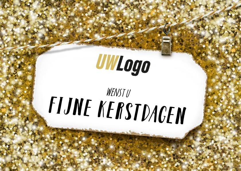 Zakelijke kerstkaarten - Zakelijke kerstkaart gouden glitter wit label liggend