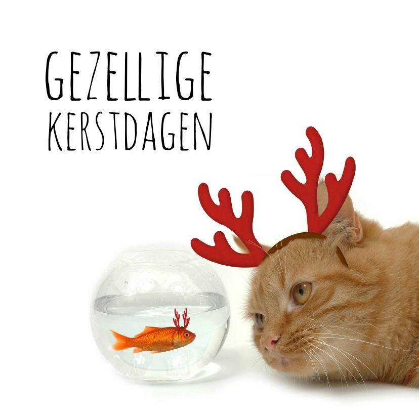 Zakelijke kerstkaarten - Zakelijke kerstkaart goudvis en kat