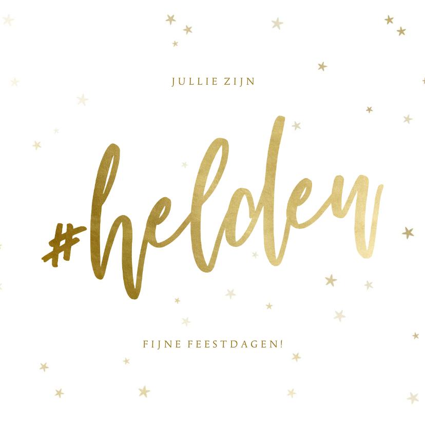 Zakelijke kerstkaarten - Zakelijke kerstkaart hashtag helden bedankt