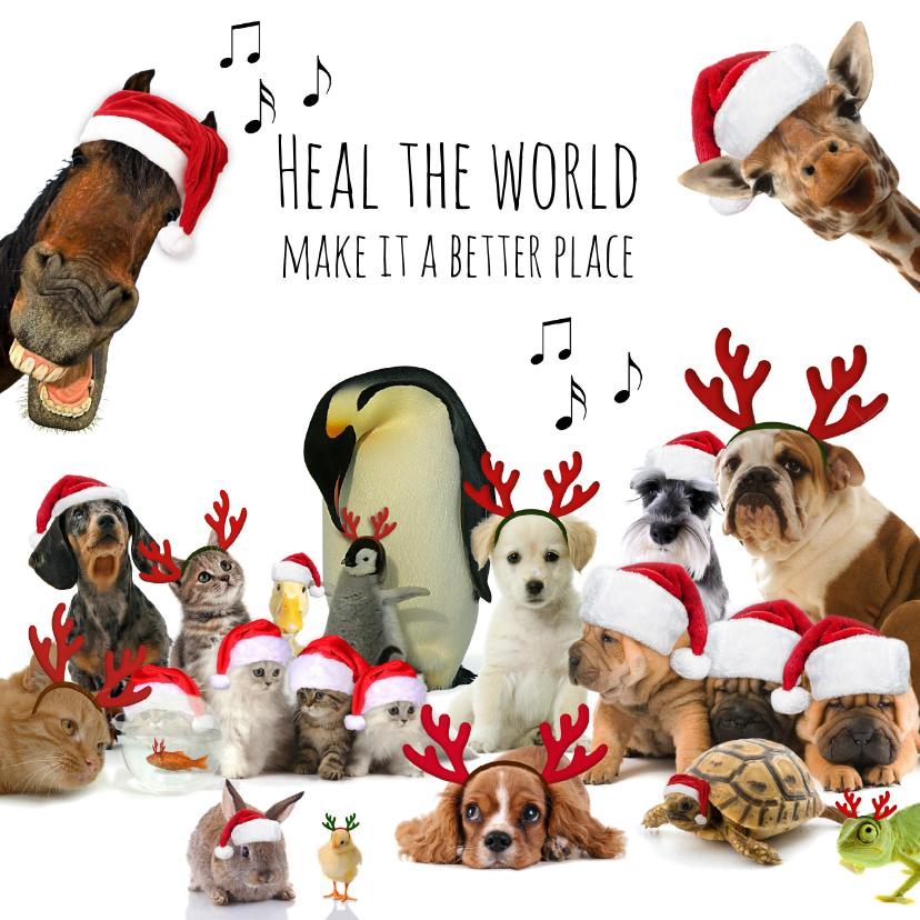 Zakelijke kerstkaarten - Zakelijke kerstkaart 'heal the world' diverse dieren