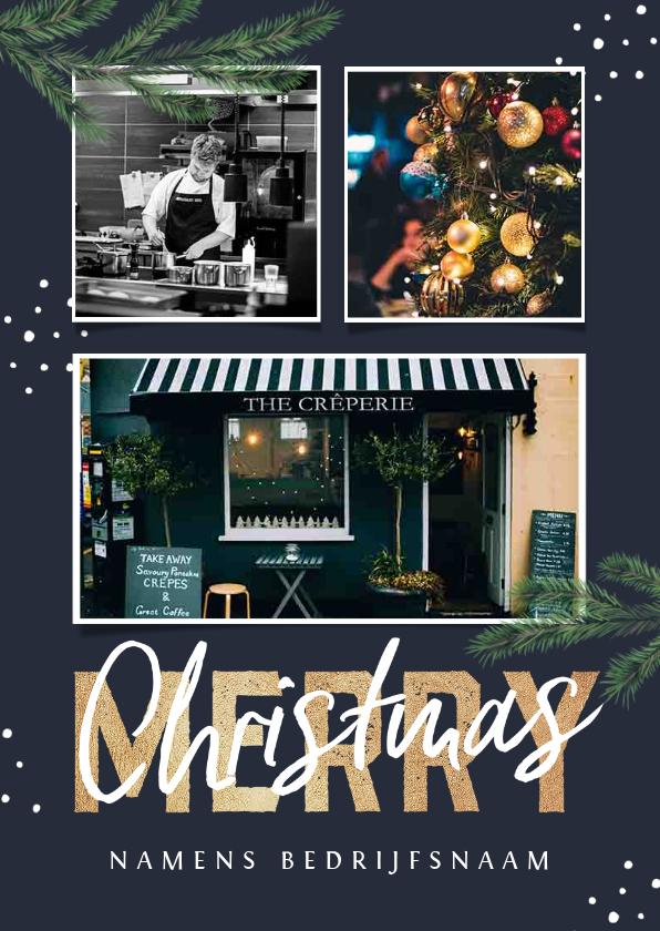 Zakelijke kerstkaarten - Zakelijke kerstkaart horeca restaurant fotocollage takjes