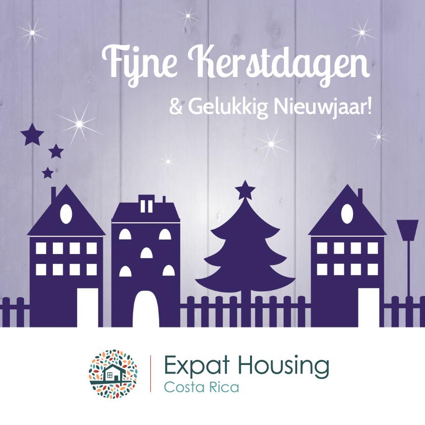 Zakelijke kerstkaarten - Zakelijke kerstkaart huisjes paars - LB