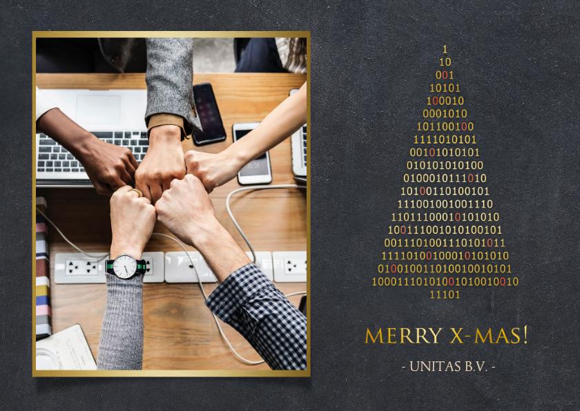 Zakelijke kerstkaarten - Zakelijke kerstkaart ICT - binaire kerstboom met foto