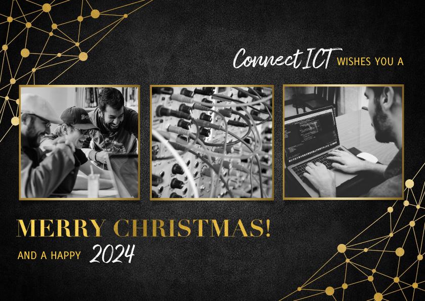 Zakelijke kerstkaarten - Zakelijke kerstkaart ICT gouden typografie en netwerk