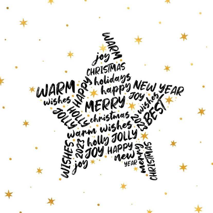 Zakelijke kerstkaarten - Zakelijke kerstkaart internationaal goudlook ster