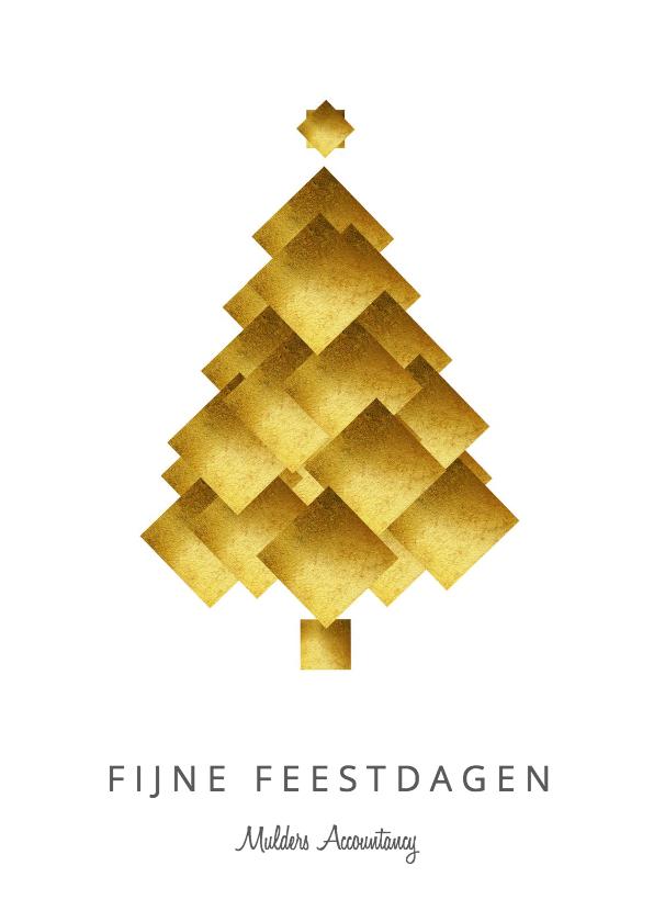 Zakelijke kerstkaarten - Zakelijke kerstkaart kerstboom goud