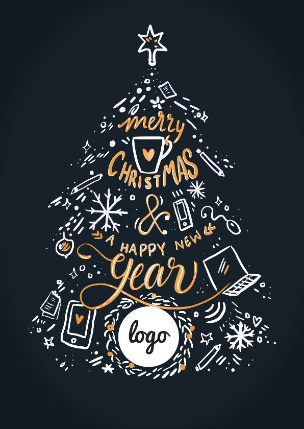 Zakelijke kerstkaarten - Zakelijke kerstkaart kerstboom met logo