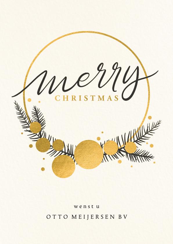 Zakelijke kerstkaarten - Zakelijke kerstkaart kerstkrans en gouden kerstballen