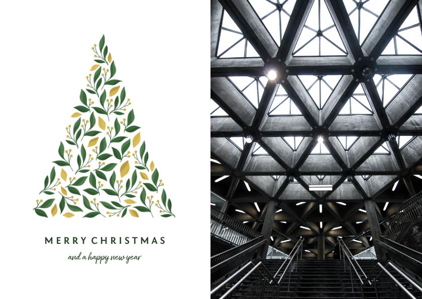 Zakelijke kerstkaarten - Zakelijke kerstkaart licht met foto en botanische kerstboom