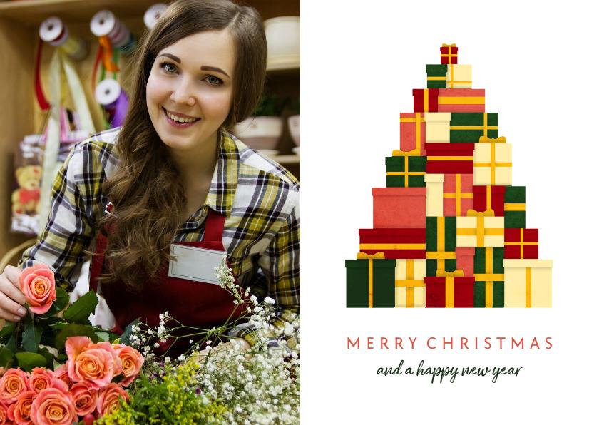 Zakelijke kerstkaarten - Zakelijke kerstkaart met foto en kerstboom van cadeaus
