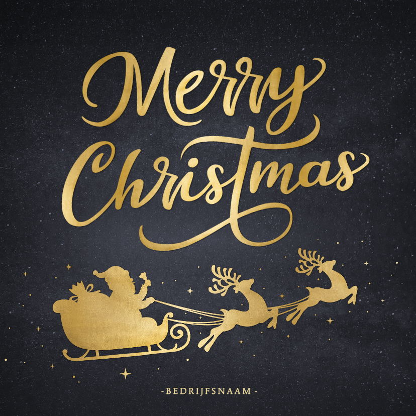 Zakelijke kerstkaarten - Zakelijke kerstkaart met goud silhouet van kerstman in slee