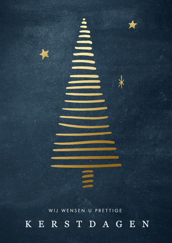 Zakelijke kerstkaarten - Zakelijke kerstkaart met gouden kerstboom en sterren