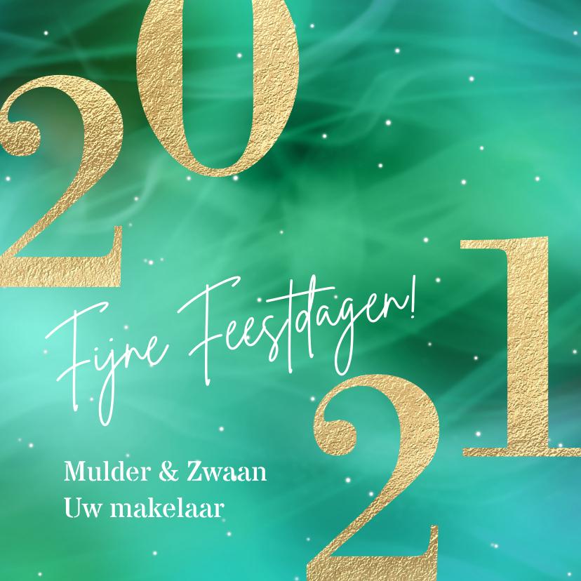 Zakelijke kerstkaarten - Zakelijke kerstkaart met groot getal 2021 goud groen