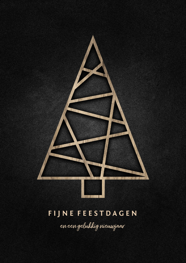 Zakelijke kerstkaarten - Zakelijke kerstkaart met houten kerstboom en krijtbord