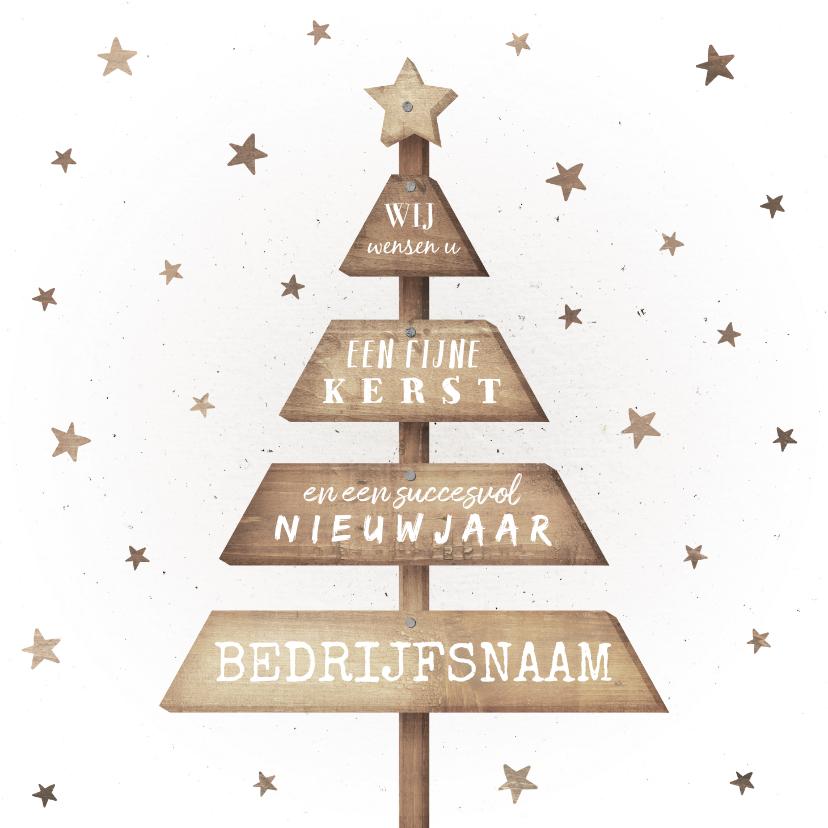 Zakelijke kerstkaarten - Zakelijke kerstkaart met houten kerstboom en sterren