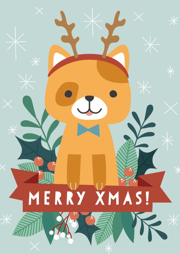 Zakelijke kerstkaarten - Zakelijke kerstkaart met illustratie van kat en takjes