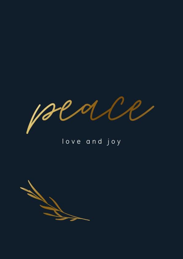 Zakelijke kerstkaarten - Zakelijke kerstkaart met peace en goudlook takje