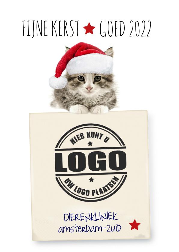 Zakelijke kerstkaarten - Zakelijke kerstkaart met poes en logo