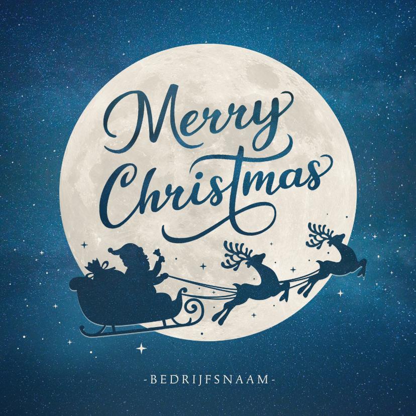 Zakelijke kerstkaarten - Zakelijke kerstkaart met silhouet van kerstman in arrenslee
