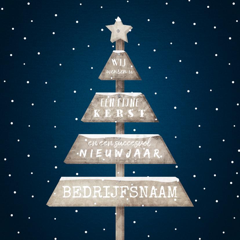 Zakelijke kerstkaarten - Zakelijke kerstkaart met sneeuw en houten kerstboom