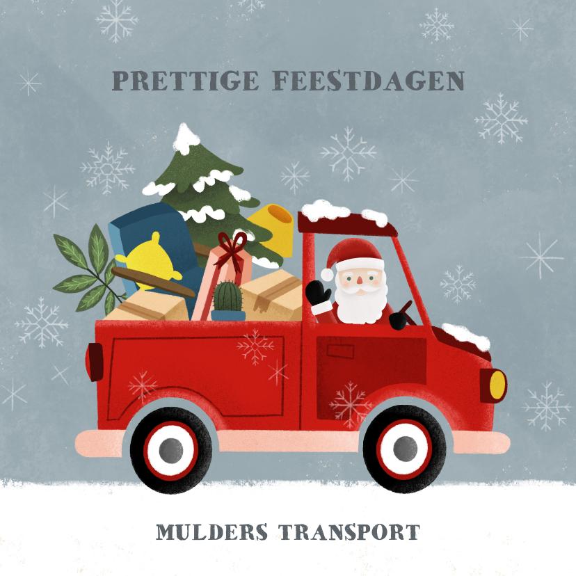 Zakelijke kerstkaarten - Zakelijke kerstkaart pickup truck kerstman en sneeuw