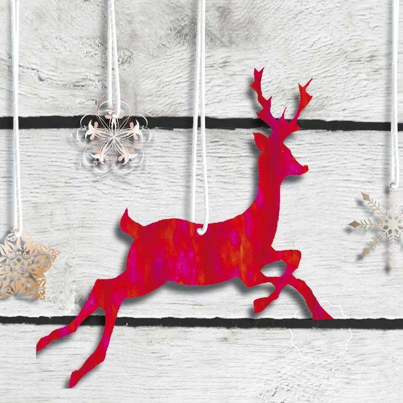 Zakelijke kerstkaarten - Zakelijke kerstkaart rood rendier hout