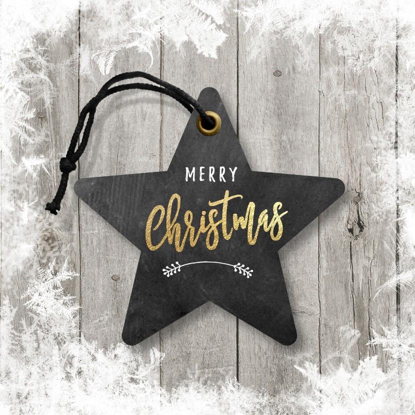 Zakelijke kerstkaarten - Zakelijke kerstkaart ster hout