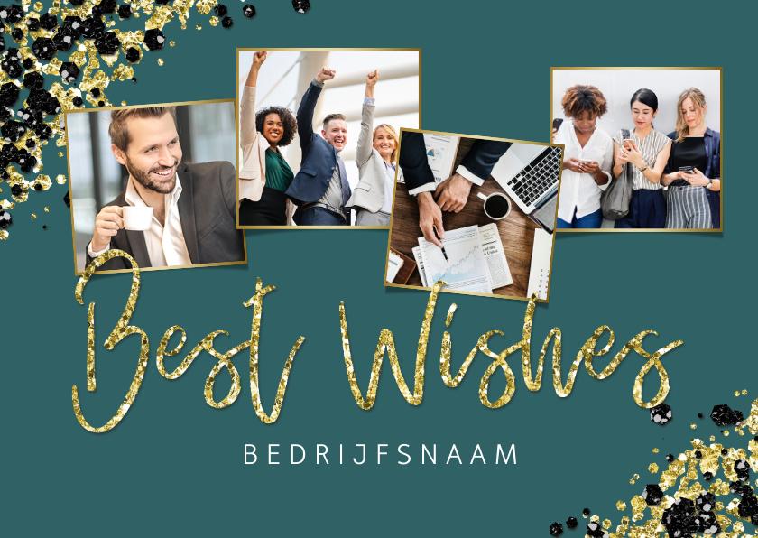 Zakelijke kerstkaarten - Zakelijke kerstkaart stijlvol goud fotocollage best wishes