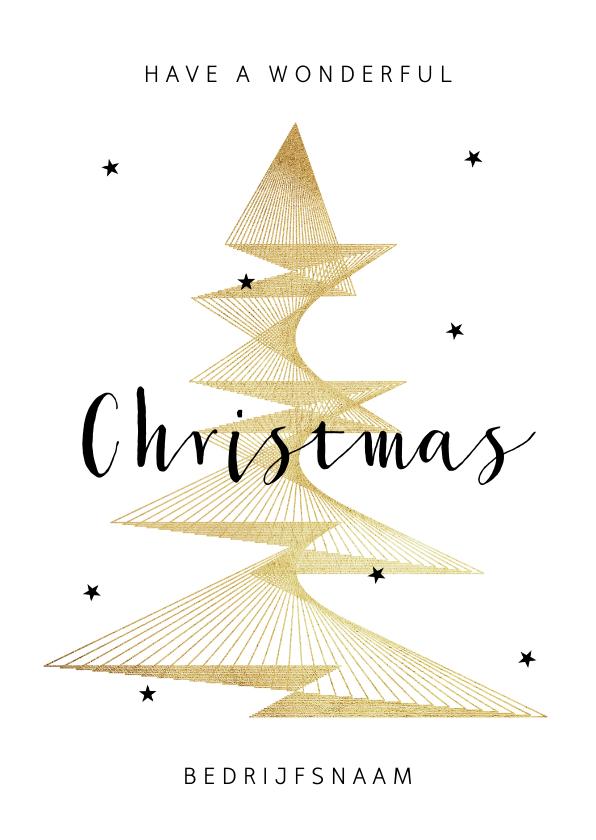 Zakelijke kerstkaarten - Zakelijke kerstkaart stijlvol goud grafisch sterren