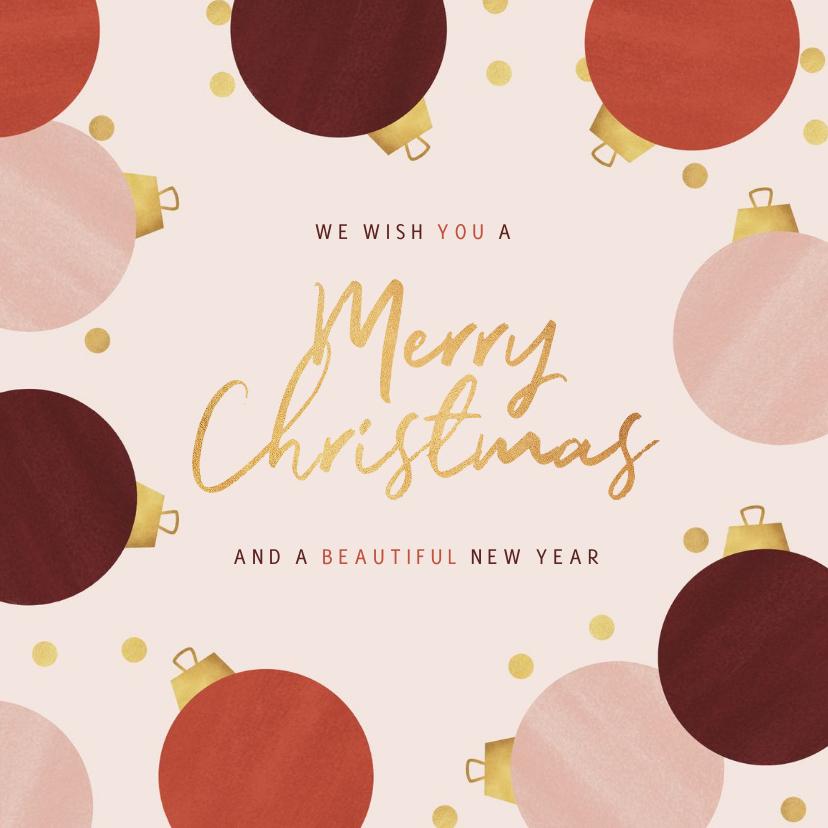 Zakelijke kerstkaarten - Zakelijke kerstkaart stijlvol modern kerstballen goud