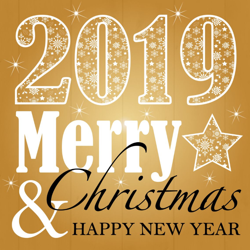 Zakelijke kerstkaarten - Zakelijke kerstkaart typografie goud 2019