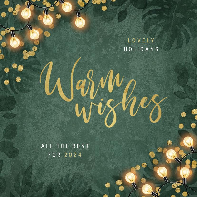 Zakelijke kerstkaarten - Zakelijke kerstkaart warm wishes lampjes groen botanisch